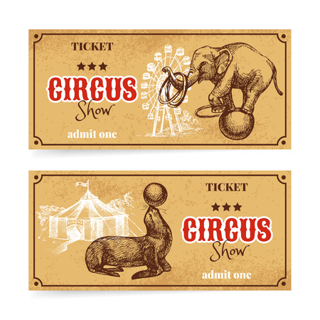circus animal: Vintage circus show ticket set. Hand drawn sketch vector illustration