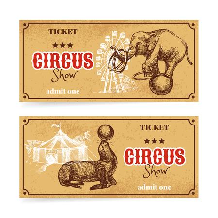 Weinlese-Zirkus-Show-Ticket gesetzt. Hand gezeichnete Skizze Vektor-Illustration