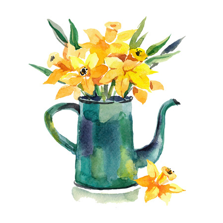 coffeepot: Watercolor hand drawn  coffeepot with flowers. Design for card