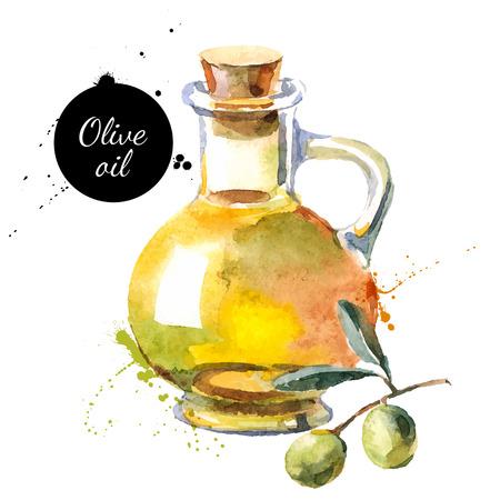 foglie ulivo: Olive illustrazione vettoriale bottiglia. Acquerello pittura disegnata a mano su sfondo bianco