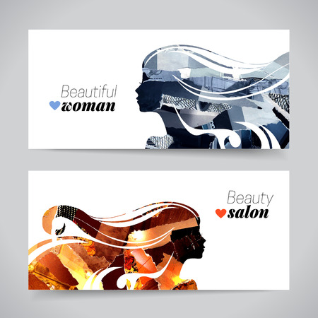 Set of banners with magazine snippets collage beautiful girl silhouettes. Vector illustration of painting woman beauty salon design Çizim