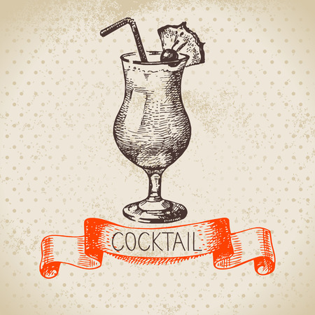 Hand drawn sketch cocktail vintage background. Vector illustration Ilustração