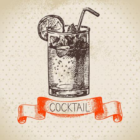mojito: Hand drawn sketch cocktail vintage background. Vector illustration Illustration