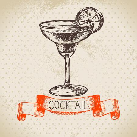 margarita cóctel: Dibujado a mano de fondo cóctel boceto época. Ilustración vectorial