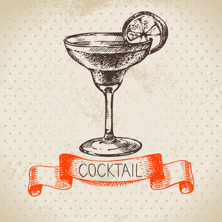 Hand drawn sketch cocktail vintage background. Vector illustration 向量圖像