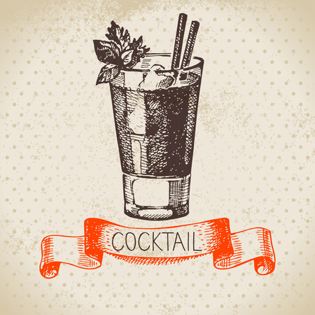 bloody mary: Hand drawn sketch cocktail vintage background. Vector illustration Illustration