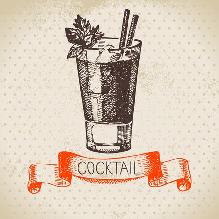 tropical cocktail: Hand drawn sketch cocktail vintage background. Vector illustration Illustration