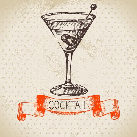 Hand drawn sketch cocktail vintage background. Vector illustration Çizim