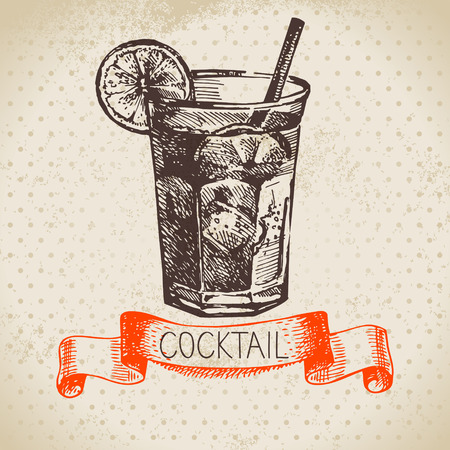 fruit drink: Hand drawn sketch cocktail vintage background. Vector illustration Illustration
