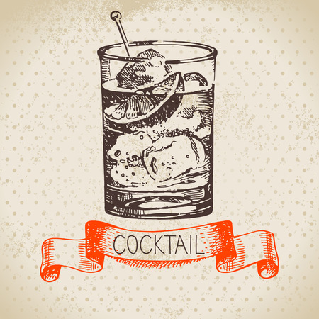 Hand drawn sketch cocktail vintage background. Vector illustration Vectores