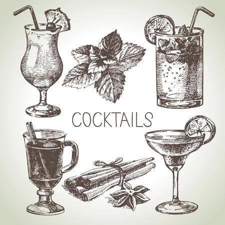 pina colada: Hand drawn sketch set of alcoholic cocktails. Vector illustration