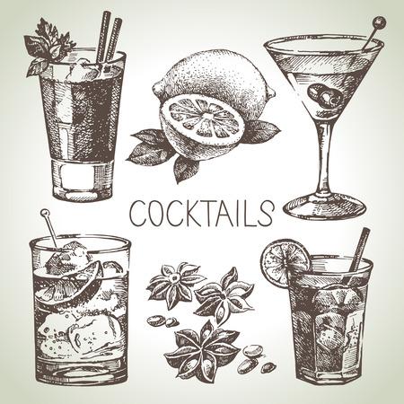 coctel de frutas: Dé el bosquejo exhausto conjunto de cócteles sin alcohol. Ilustración vectorial