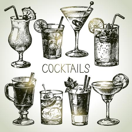 coctel margarita: Dé el bosquejo exhausto conjunto de cócteles sin alcohol. Ilustración vectorial