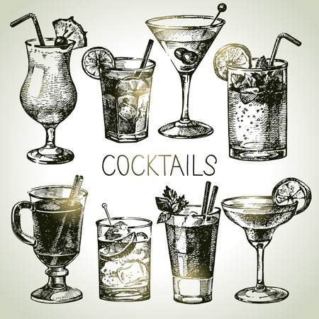 juice: Hand drawn sketch set of alcoholic cocktails. Vector illustration