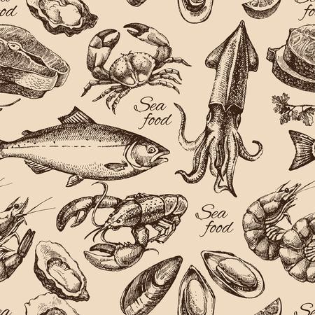 calamar: Dibujado a mano marisco boceto sin patrón. Estilo vintage ilustración vectorial