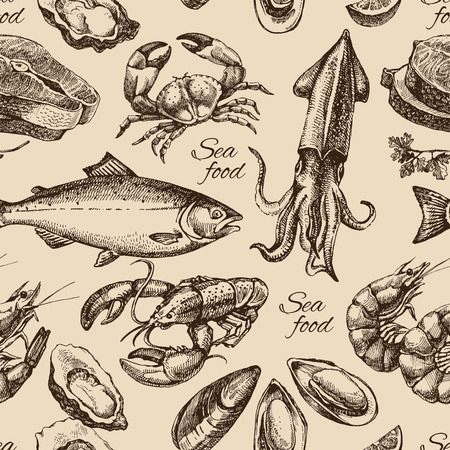 sea background: Hand drawn sketch seafood seamless pattern. Vintage style vector illustration