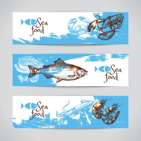 손 스케치 해산물 벡터 배너를 그려. 바다 배경 설정합니다. 메뉴 디자인