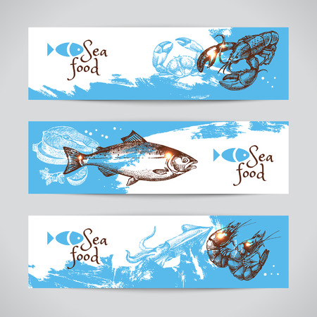 ristorante: Schizzo disegnato a mano striscioni pesce vettoriali. Sfondo Mare set. Menu design Vettoriali