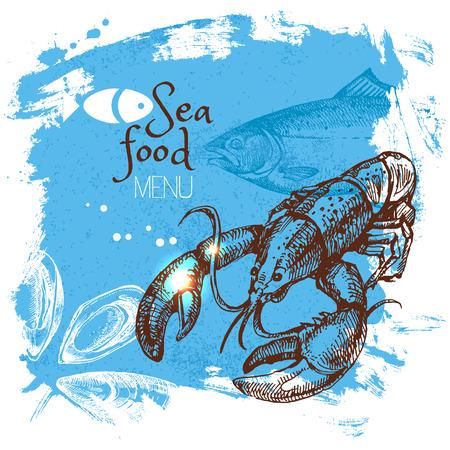 手描きスケッチ シーフード ベクトル イラスト。海のポスターの背景。メニューのデザイン