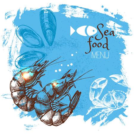 Hand drawn sketch seafood vector illustration. Sea poster background. Menu design Vectores