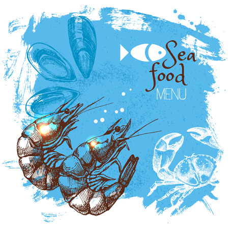 Hand drawn sketch seafood vector illustration. Sea poster background. Menu design Vettoriali