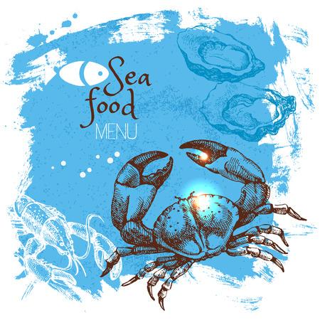 shellfish: Hand drawn sketch seafood vector illustration. Sea poster background. Menu design Illustration