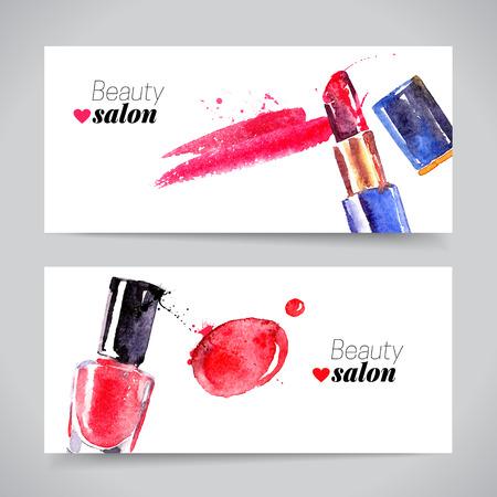 maquillage: Aquarelle cosmétiques banner set. Vector illustration beauté Illustration
