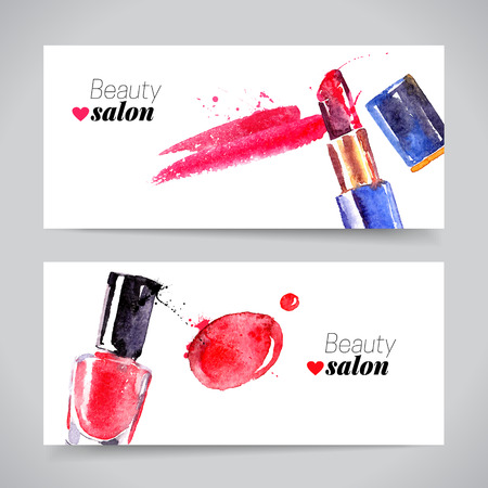 makeup: Watercolor cosmetics banner set. Vector beauty illustration