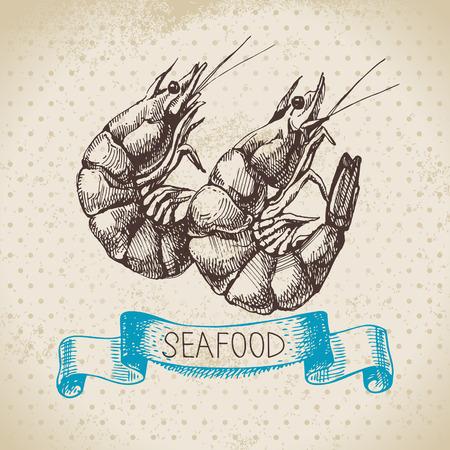 Vintage zee achtergrond. Hand getrokken schets seafood vector illustratie van garnalen Stock Illustratie