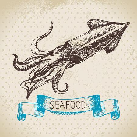 calamar: Mar de fondo de la vendimia. Dibujado a mano boceto marisco ilustración vectorial de calamar