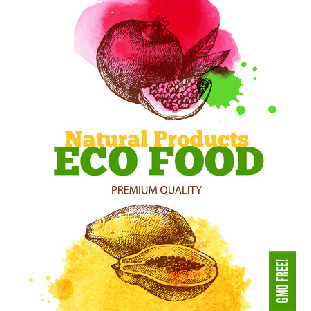 Eco food menu background. Watercolor and hand drawn sketch fruits. Vector illustration