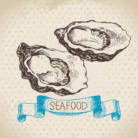 ostra: Mar de fondo de la vendimia. Dibujado a mano boceto marisco ilustraci�n vectorial de ostras
