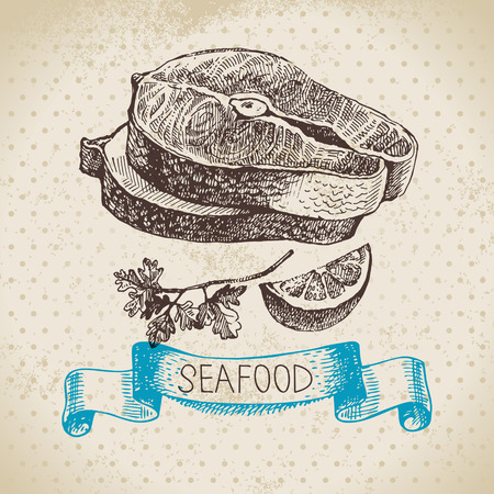 seafood: Vintage sea background. Hand drawn sketch seafood vector illustration of  lobster fish pieces