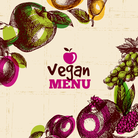 Eco food vegan menu background. Watercolor and hand drawn sketch fruits. Vector illustration