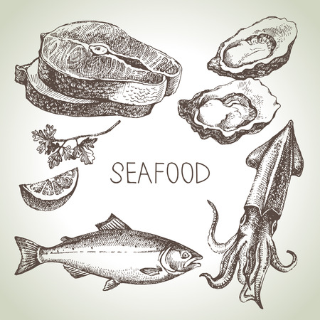 Hand drawn sketch set of seafood. Vector illustration Vectores