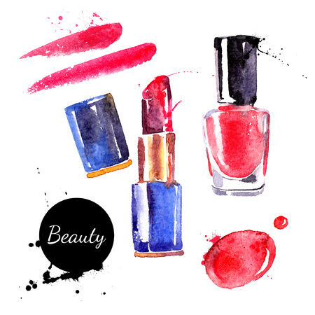 artistic logo: Watercolor cosmetics set. Hand painted make up objects: lipstic and nail polish. Vector beauty illustration