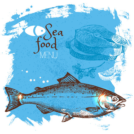 sea food: Hand drawn sketch seafood vector illustration. Sea poster background. Menu design Illustration