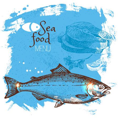 Hand gezeichnete Skizze Meeresfrüchten Vektor-Illustration. Sea Plakathintergrund. Menü-Design Illustration