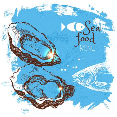Hand drawn sketch seafood vector illustration. Sea poster background. Menu design Ilustração