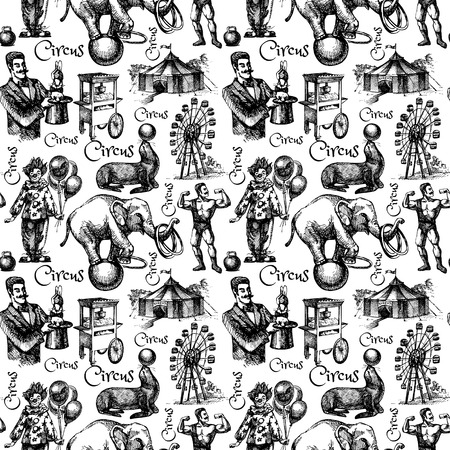 circus background: Hand drawn sketch circus and amusement vector illustration. Vintage seamless pattern. Black and white
