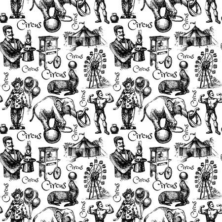clown cirque: Tir� par la main de cirque de croquis et illustrations vecteur d'attractions. Vintage seamless pattern. Noir et blanc Illustration