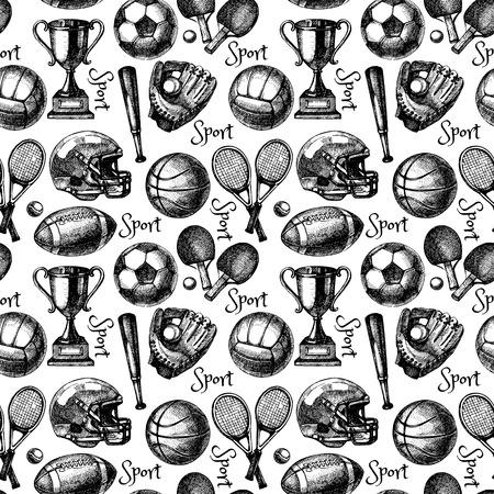 balones deportivos: Dibujado a mano boceto deporte patrón transparente con bolas. Ilustración vectorial