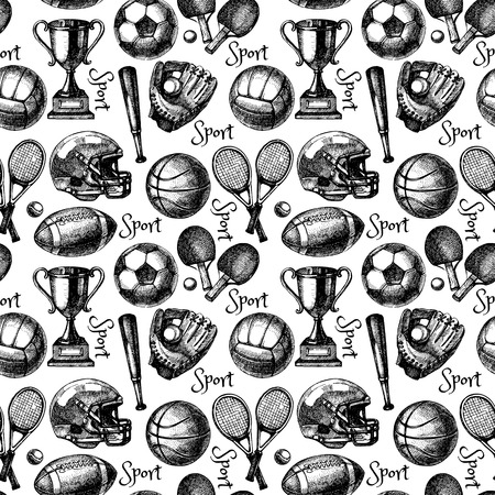 team sport: Hand drawn sketch sport seamless pattern with balls. Vector illustration
