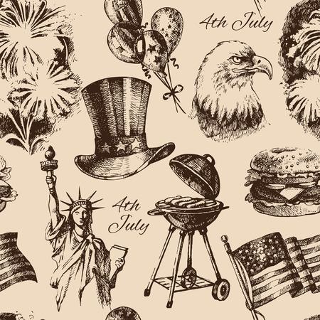 calendario julio: 04 de julio sin patrón. Mano ilustraciones extraídas del Día de la Independencia de América. Vector de fondo