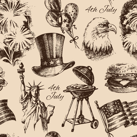 4th: 4th of July seamless pattern. Hand drawn illustrations of Independence Day of America. Vector background