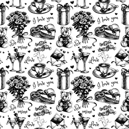 balck: Valentines Day and wedding hand drawn sketch vector illustration. Vintage love balck and white seamless pattern