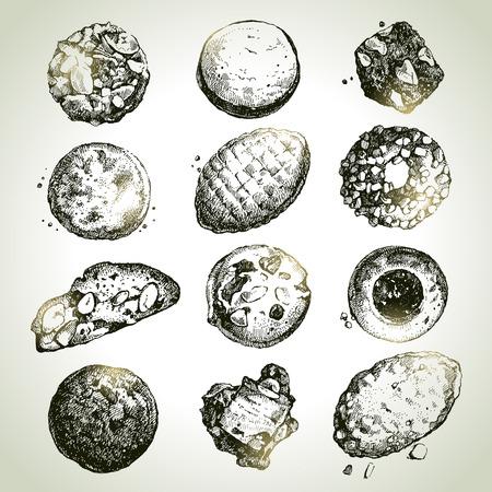 galletas: Dibujado a mano boceto galletas dulces establecidos. Ilustración vectorial Vectores