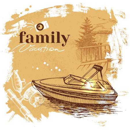 Vintage hand drawn sketch family vacation background. Getaway poster. Vector illustration Vector