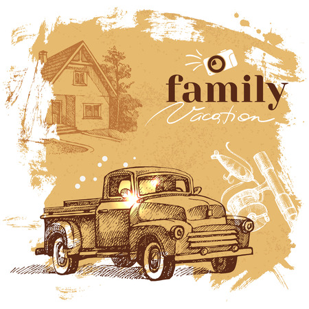 family vacation: Vintage hand drawn sketch family vacation background. Getaway poster. Vector illustration Illustration