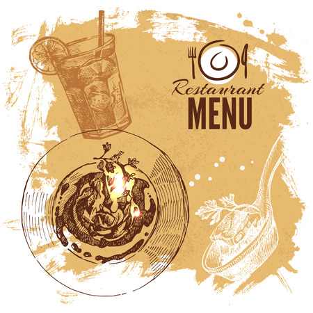 Hand drawn sketch restaurant food set. European cuisine menu. Vector illustration Vector